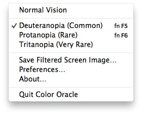 Color Oracle menu in OSX