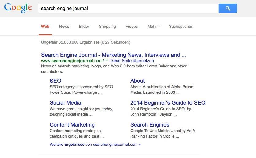 Beispiel für Sitelinks in Google Suchergebnissen