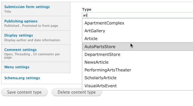 Schema.org Drupal Modul mit auto-vervollständigen