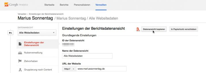 Datenansicht in Google Analytics kopieren