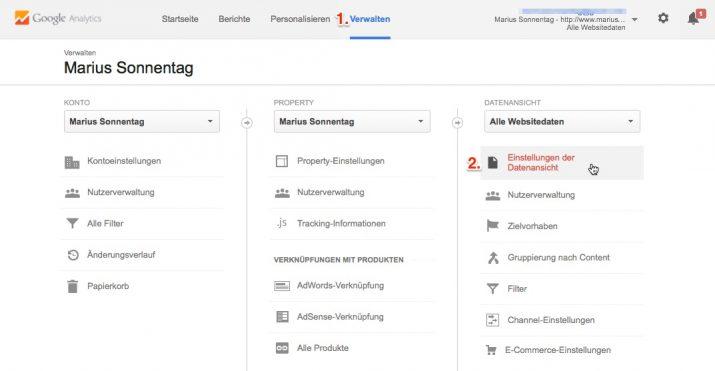 Datenansicht in Google Analytics auswählen