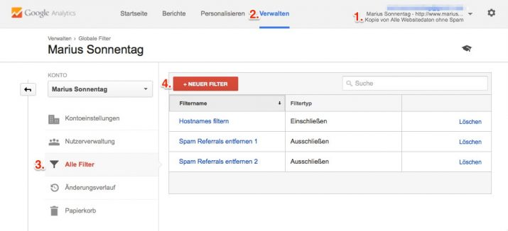 Neuen Filter in-Google Analytics anlegen