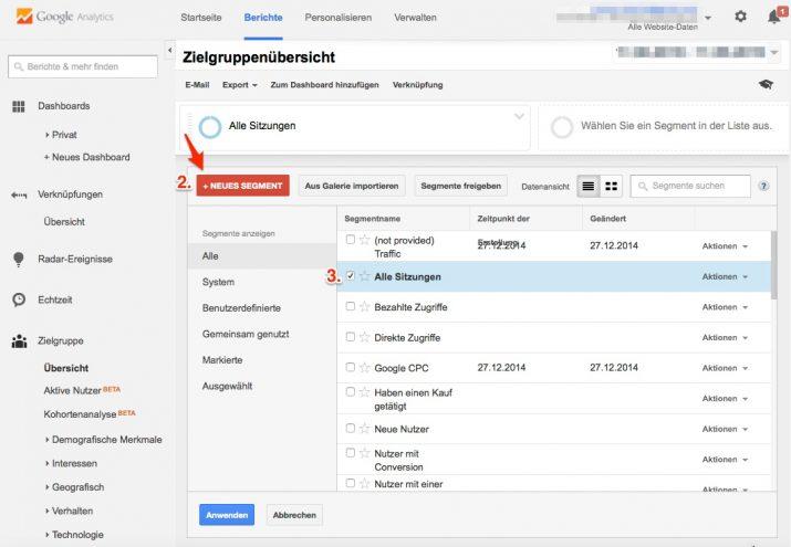 Neues Segment erstellen in Google Analytics