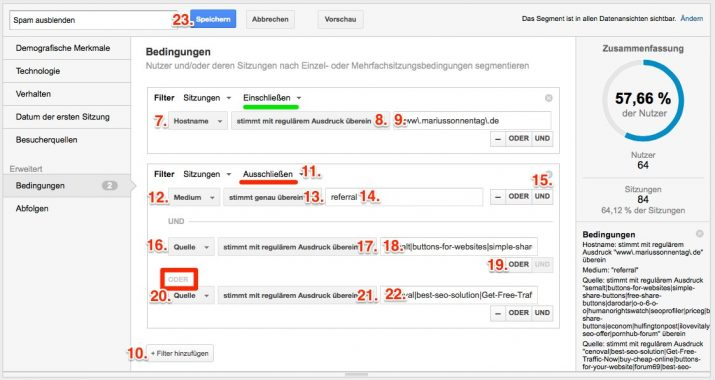 Segment in Google Analytics konfigurieren, um Spam auszublenden