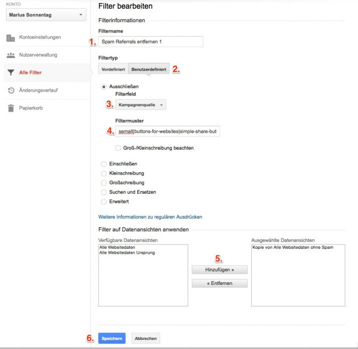 Fake Verweise in Google-Analytics filtern