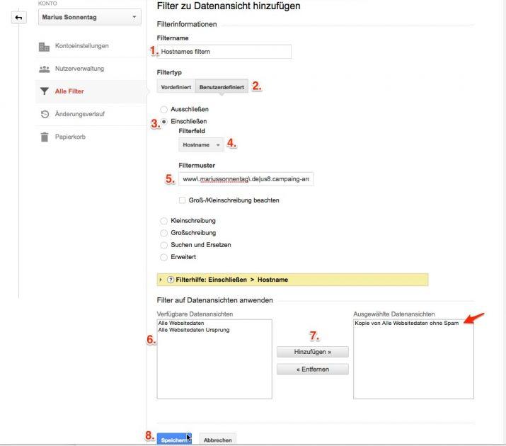Eigenen Hostnamen in Google Anaylctis filtern