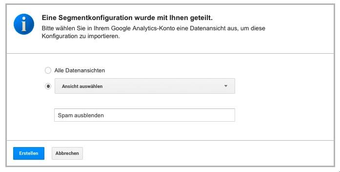Segment in Google Anayltics importieren