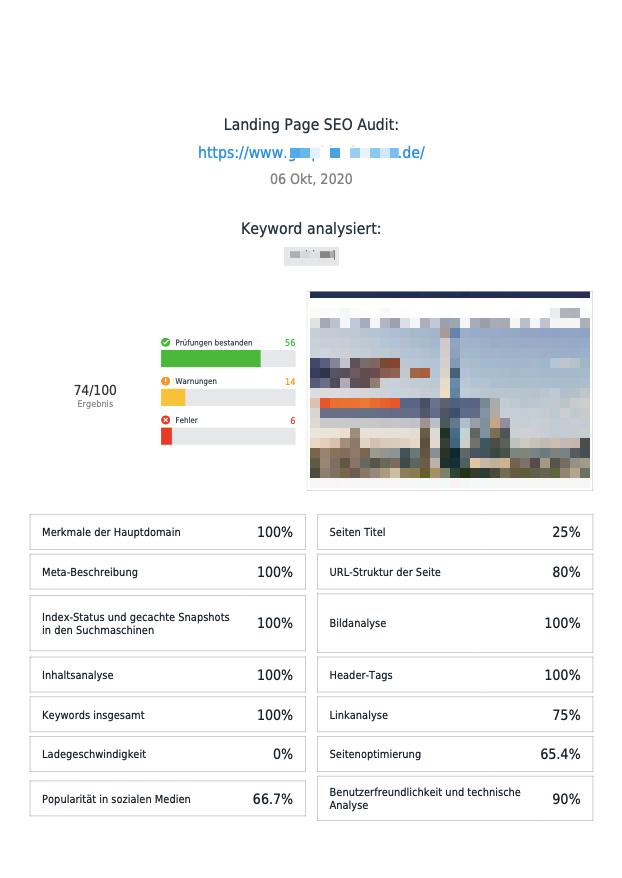 Kostenloser SEO Report Ihrer Webseite 1