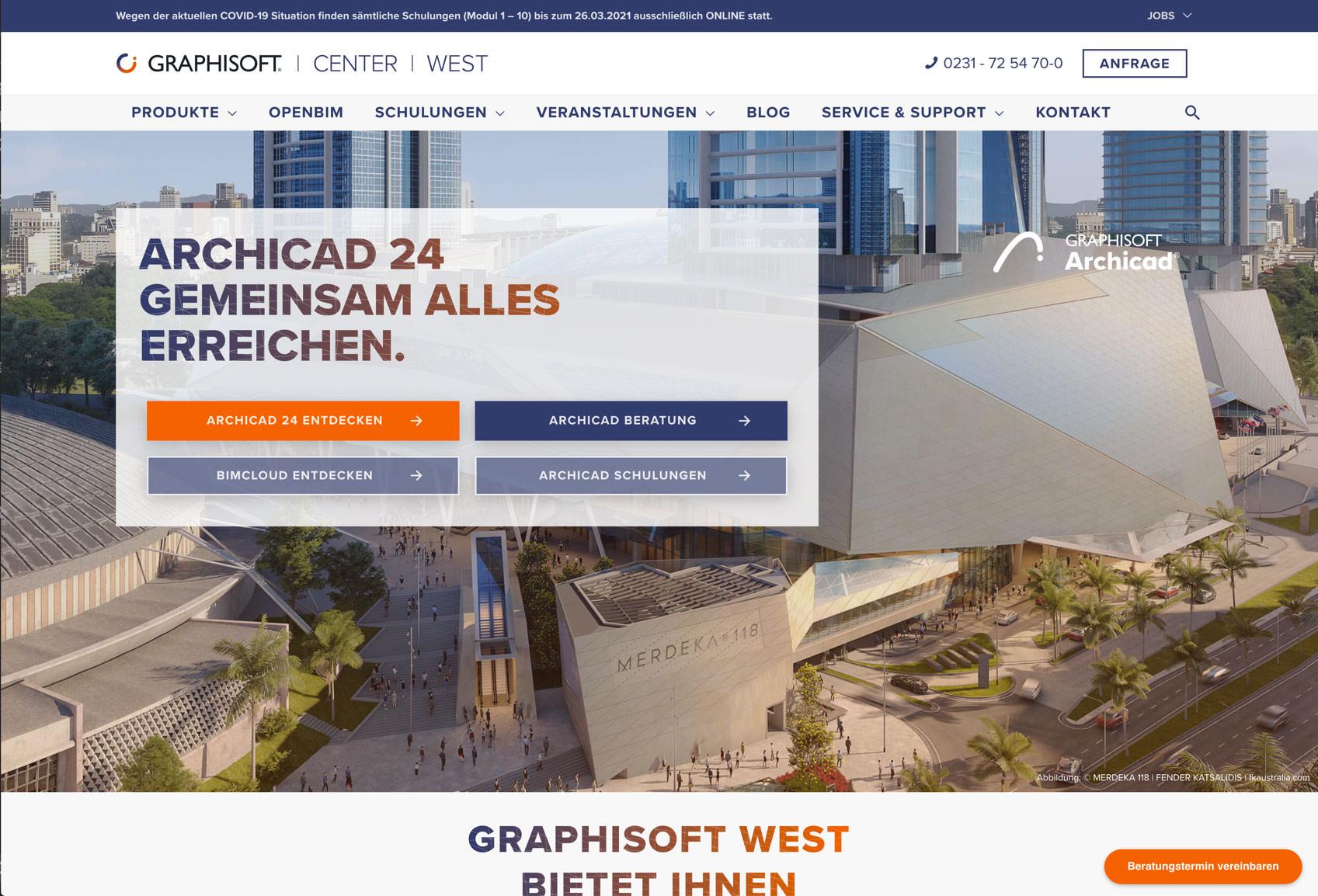 Graphisoft West Startseite derWebsite